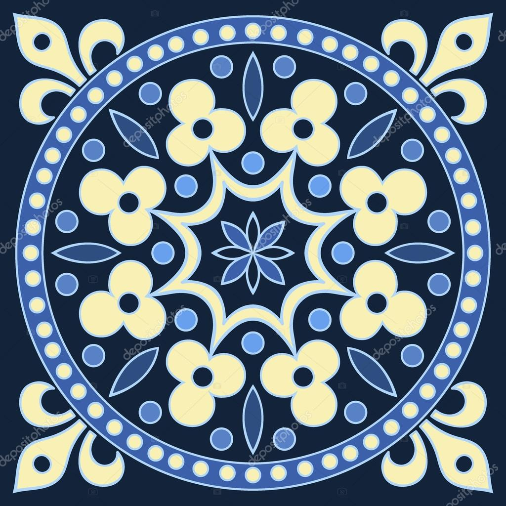 Hand Zeichnung Fliesenmuster in den Farben blau und gelb ...