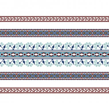 Set of Ethnic ornament pattern in blue colors