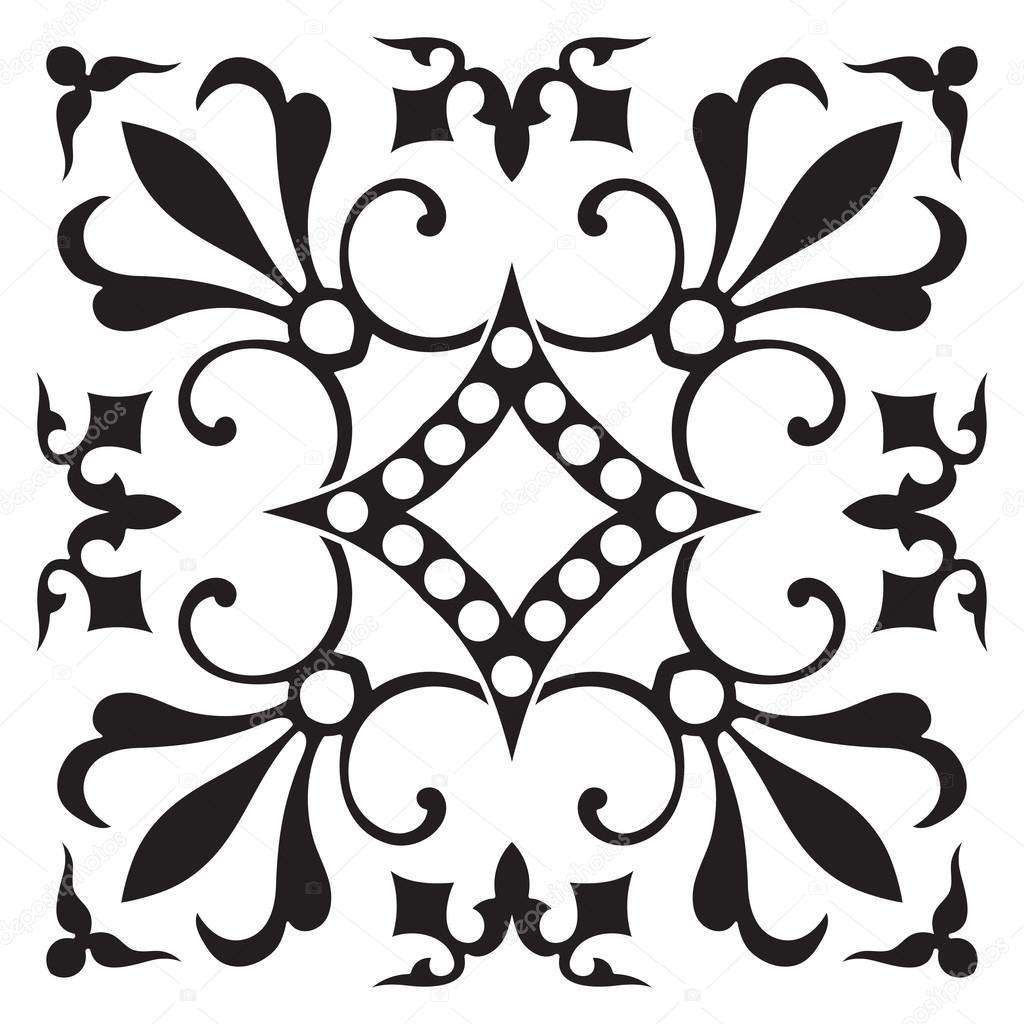 Hand-Zeichnung Fliesenmuster in schwarzen und weißen Farben ...
