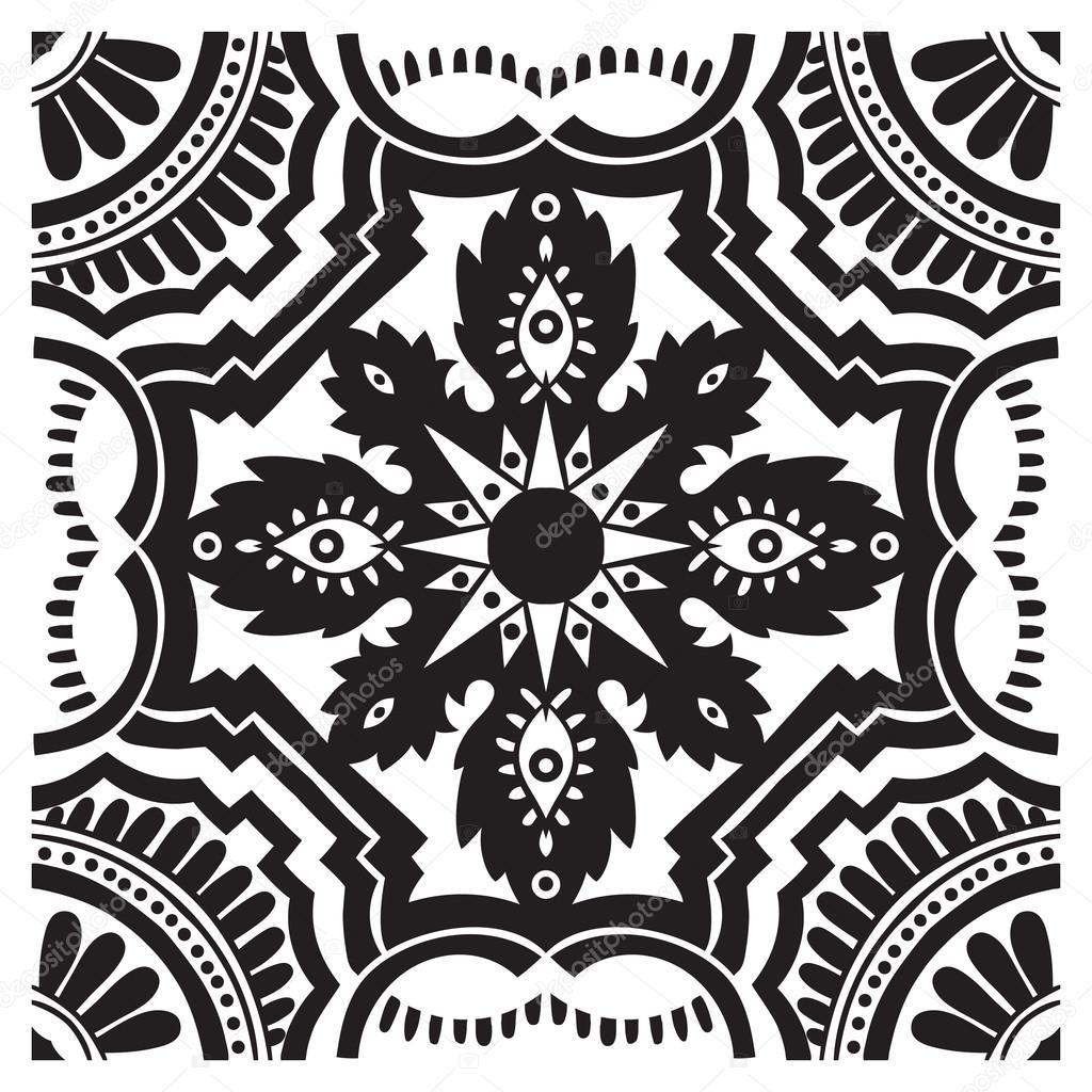 Main dessin motif de mosa que aux couleurs noir et blancs for Azulejo a cuadros blanco y negro barato