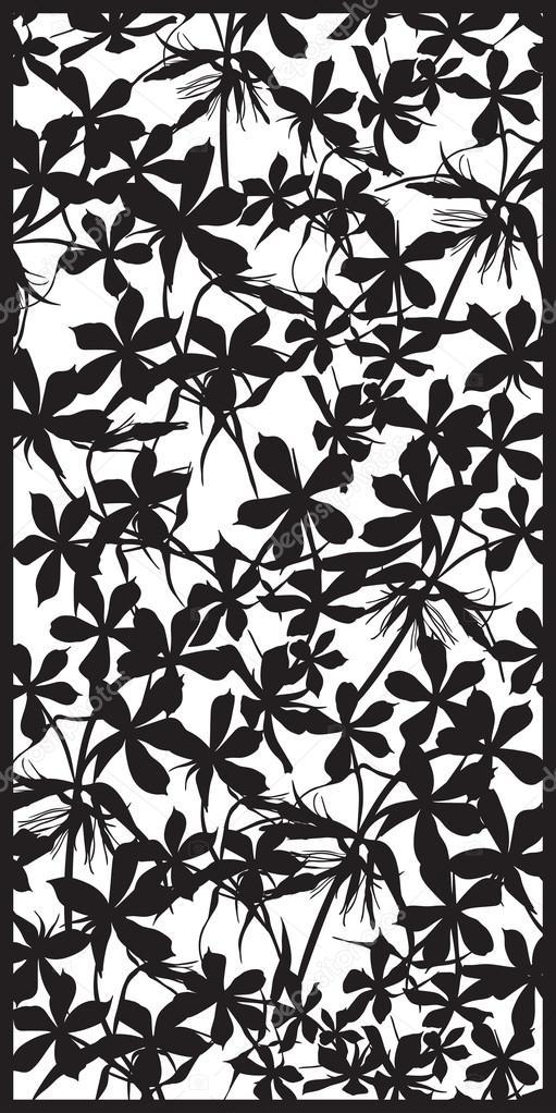 Rectangular lattice pattern floral background.  Silhouette phlox flower