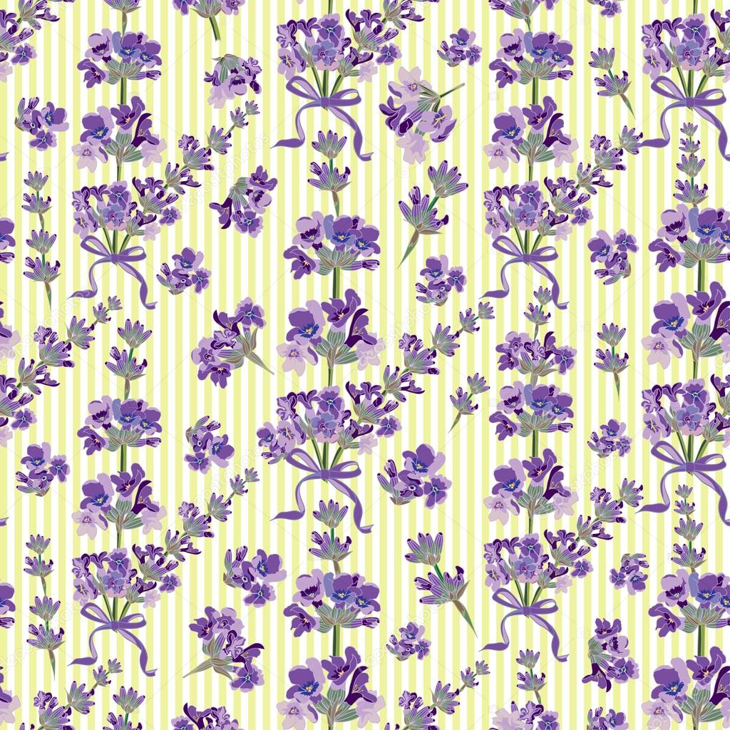 Seamless Lavender flowers background. Botanical illustration.