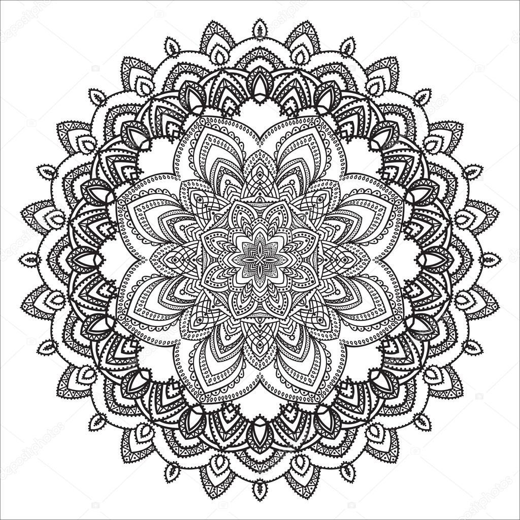 élément De Zentangle Dessin Main Noir Et Blanc Mandala