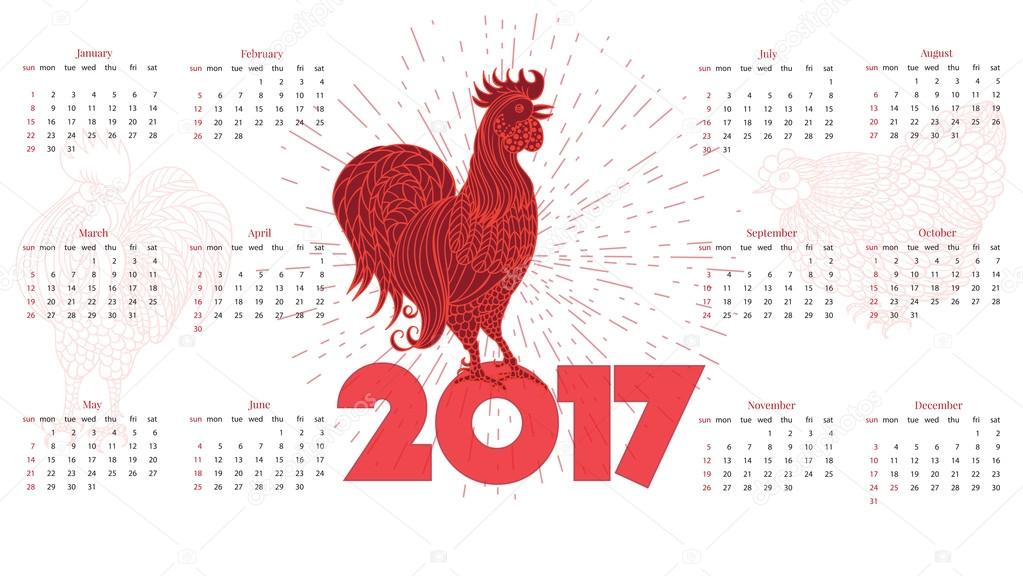naptár háttérnek red rooster 2017 naptár. Fehér háttér — Stock Vektor © zzayko  naptár háttérnek