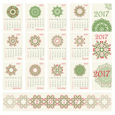 2017 Calendar with ethnic round ornament pattern in red and green colors