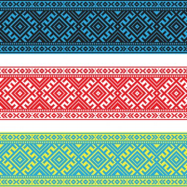 Set of Ethnic ornament pattern in different colors. Vector illustration