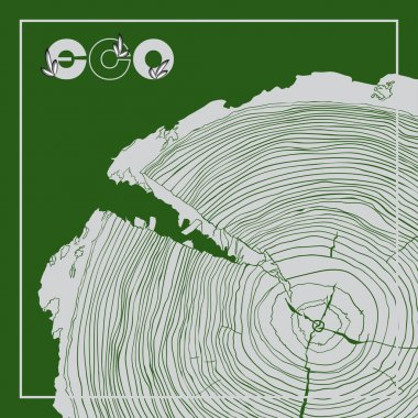 ECO poster with logo and Annual tree growth rings, grayscale drawing cross-section