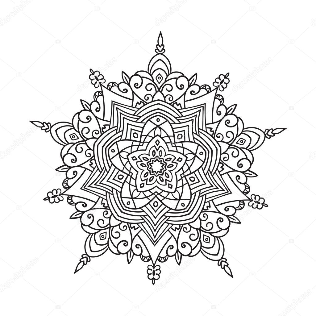 Hand drawing zentangle mandala element