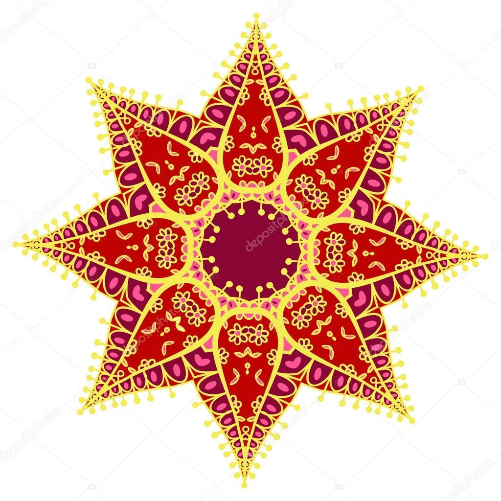 Zentangl mandala coloreado dibujado a mano. Holi festival de colores ...