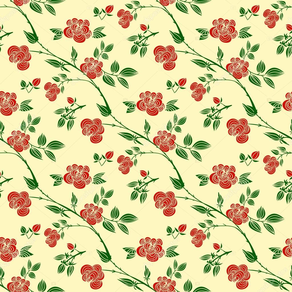 Motivi Decorativi Senza Giunte Con Le Rose Rosse Foglie E Rami