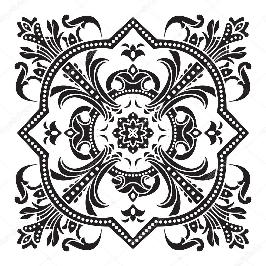 Handzeichnung dekorative Fliesenmuster. Italienische Majolika-Stil ...