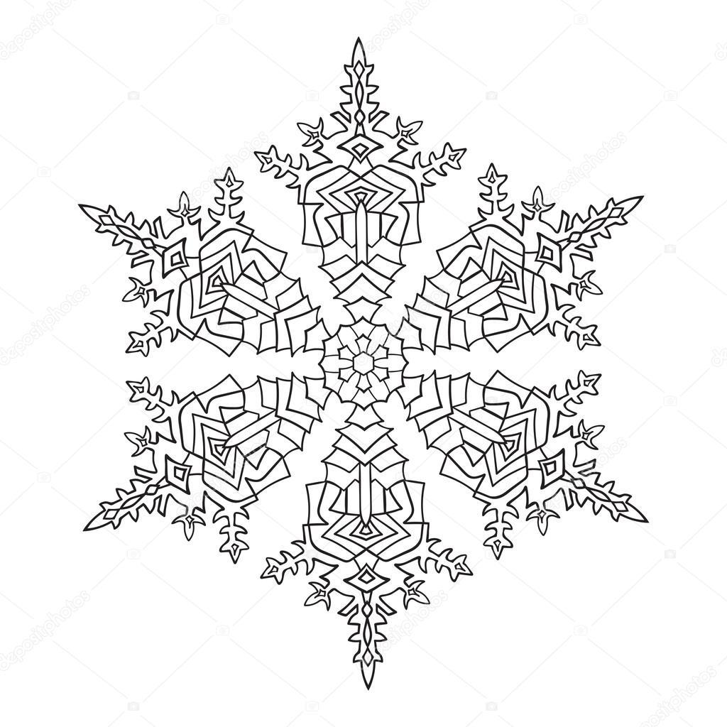 handgetekende doodles natuurlijke sneeuwvlok zentangle