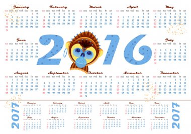 2016 calendar with picture monkey - symbol of year