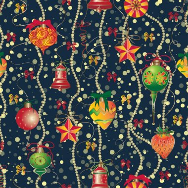 Christmas and New Year vintage seamless pattern with holiday symbols