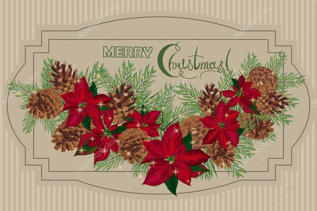 Immagini Natale Vintage Gratis.Cartolina Di Natale Vintage Con I Coni Del Pino Di Garlandof