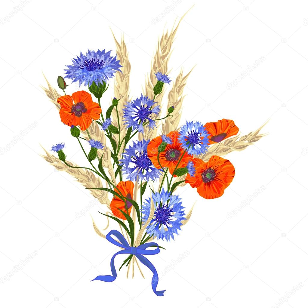 Beautiful bouquet of cornflowers poppies and wheat spikelets tied with silk - Fleur bleu blanc rouge ...