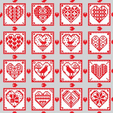 Love ornament seamless background in ethnic style