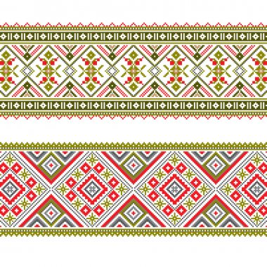 Set of Ethnic ornament pattern in different colors