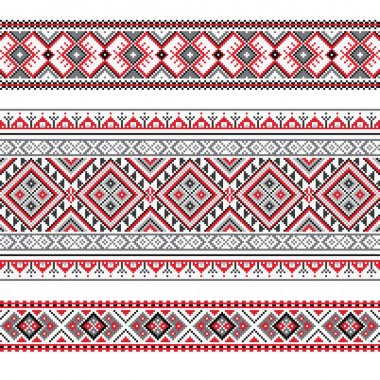 Set of Ethnic ornament pattern in polygonal style