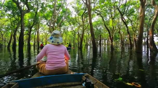 Woman rows a boat through forest