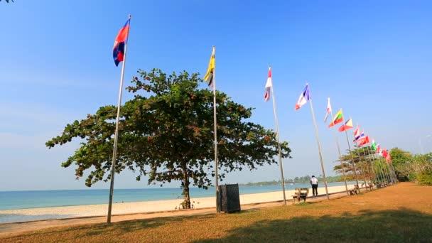 World national flags at beach