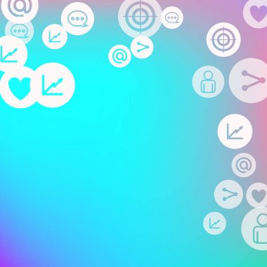 Social media marketing, Communication networking concept. Random icons social media services tags on color background. Comment, friend, like, share, target, message. Vector Internet concept. icon