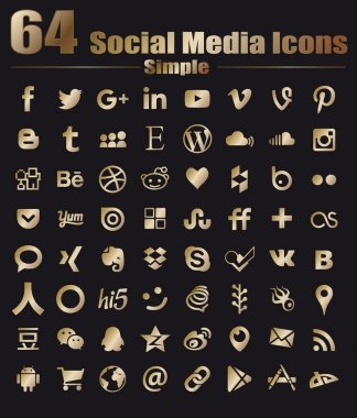 64 Gold Flat Social Media Icons - Hight Quality Vector stock collection instant download