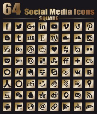 64 Square Gold Flat Social Media Icons - Hight Quality Vector stock collection