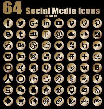 64 Round Gold Flat Social Media Icons - Hight Quality Vector stock collection