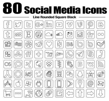 80 new Line square social media icons