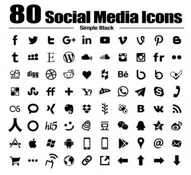 80 new flat social media icons