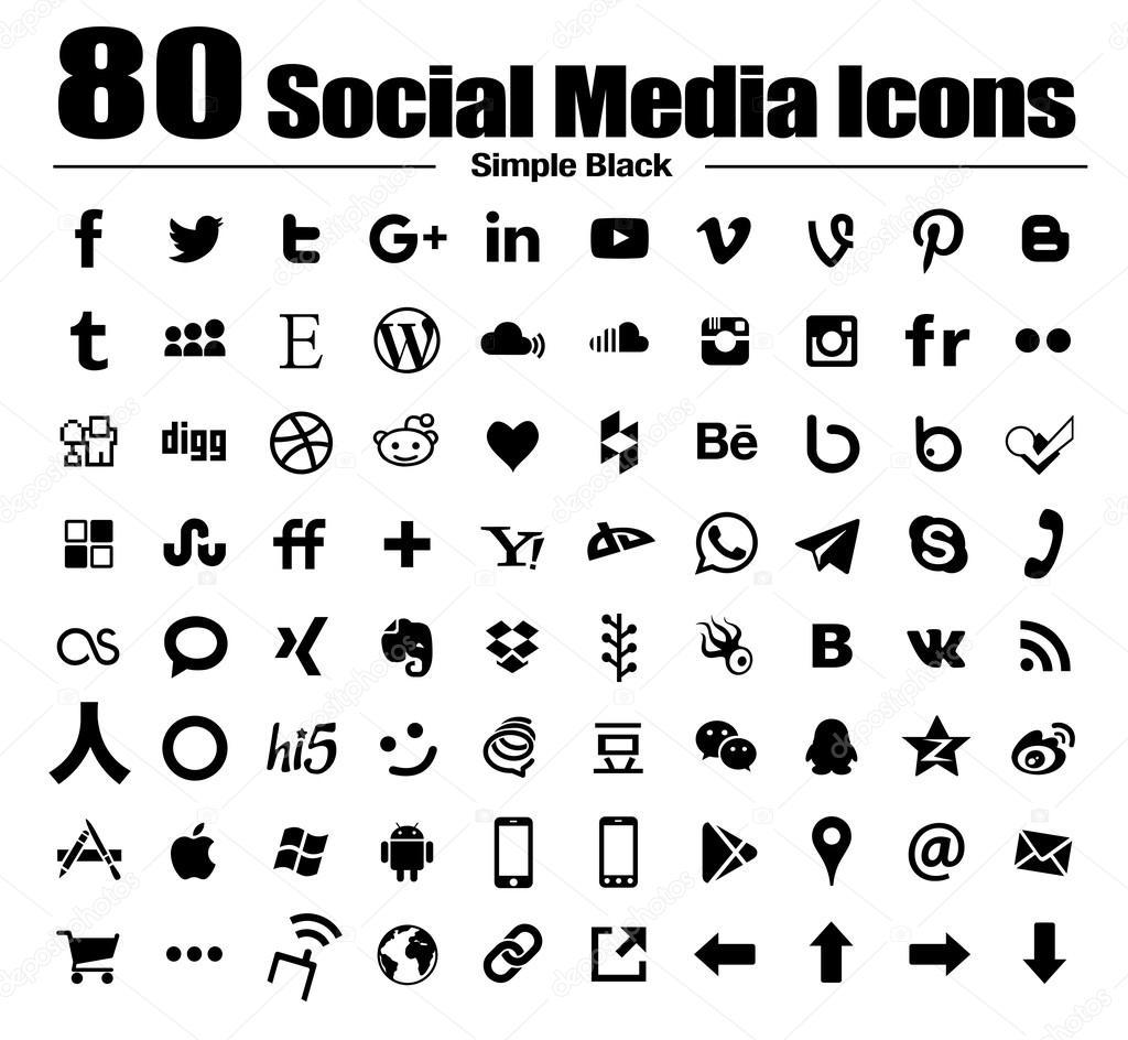 80 new flat social media icons – Stock Editorial Photo