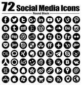 72 nové kolo sociální media ikony - vektor, černé a bílé, průhledné pozadí - musí mít úplný kruh ikonu nastavit