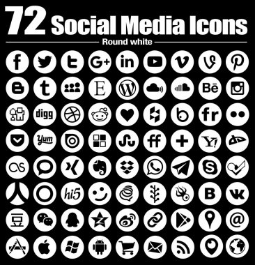 72 new Round social media icons - Vector, Black and white, transparent background