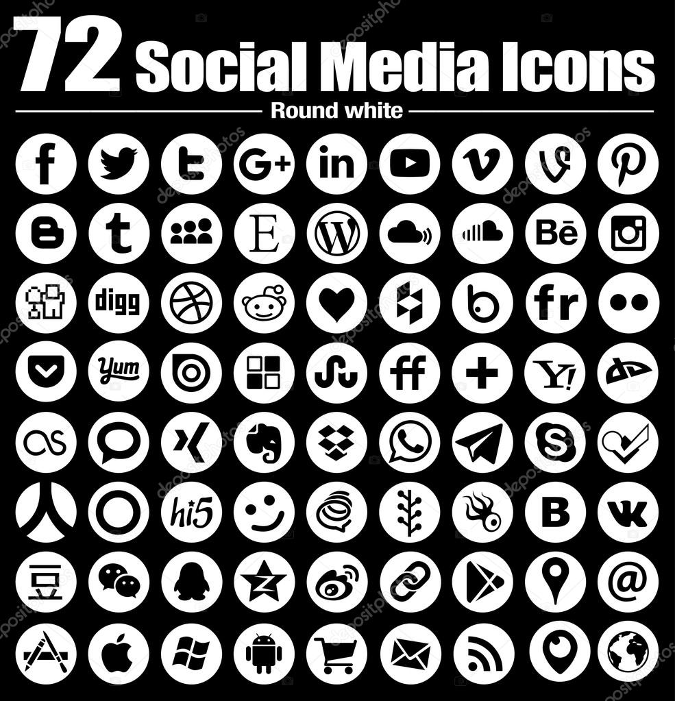 72 New Round Social Media Icons