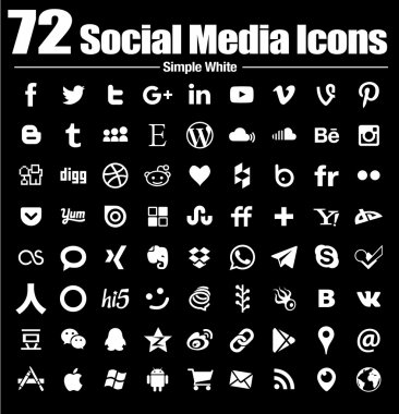 72 social media icons new simple Flat - Vector, Black and white, transparent background