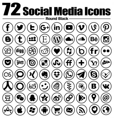 72 social media icons new Circle Line Flat - Vector, Black and white, transparent background - the must have complete circle icon set