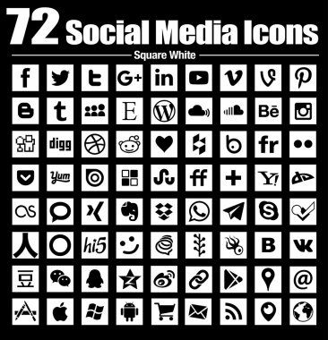 72 social media icons new Square Flat - Vector, Black and white, transparent background - the must have complete circle icon set