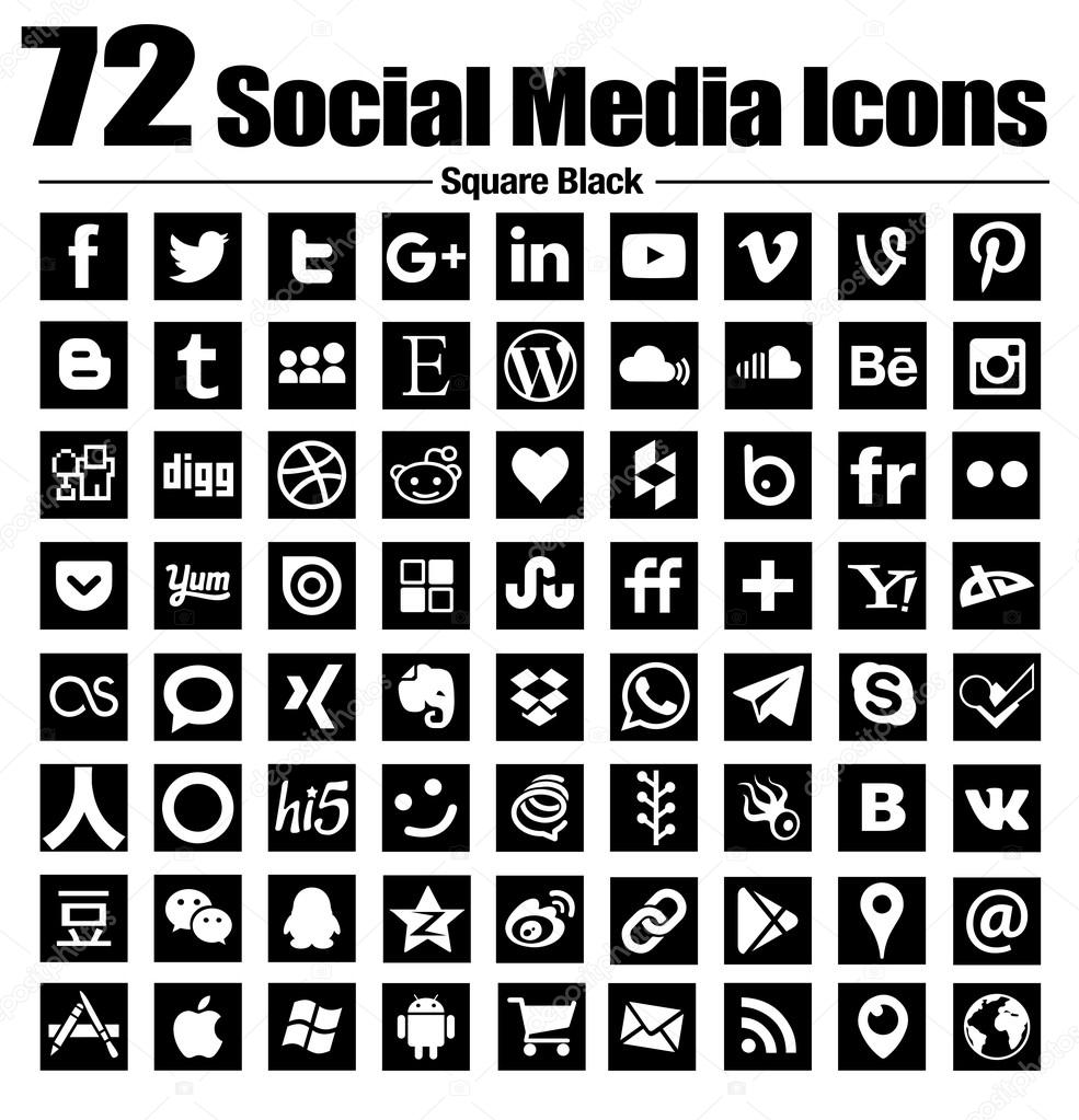72 social media icons new simple Flat - Vector, Black and white, transparent background - the base collection with new last popular social logos