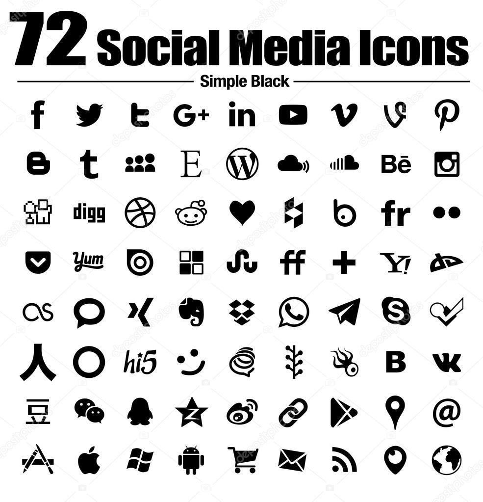 72-social-Media Symbole neue einfache Flat - Vektor, Schwarzweiß ...
