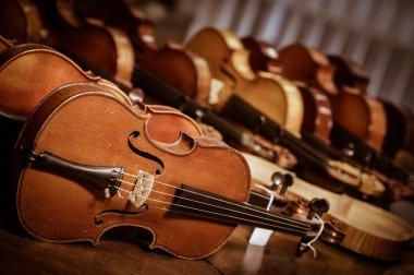 Close up shot of  violins