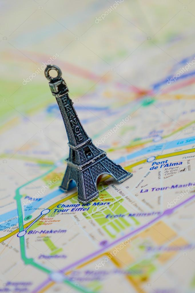 Paris Name At A Map With Red Eiffel Tower Miniature Stock Photo