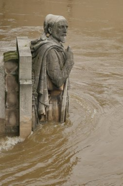 The River Seine in Paris is at its highest level for more than 30 years. Zouave statue