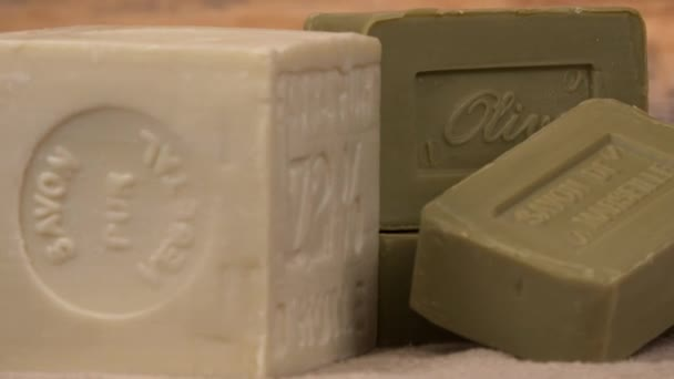 Marseille soap natural Multicolor soaps handmade with organic oil of olive, on turntable