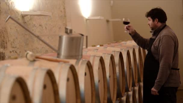 Vinař, ochutnávka vína mezi dubových sudech