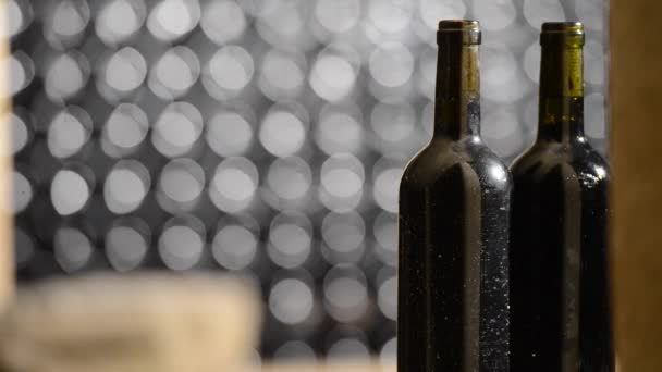 Bottle of red wine in an aging cellar.Close-up