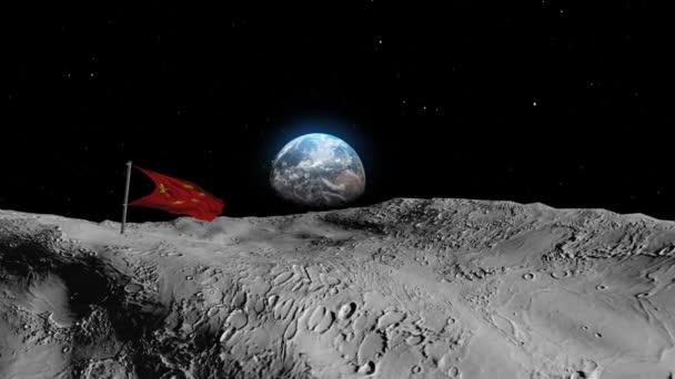 China Flag on the moon with earth in backgroundRealistic outer space view, 3d rendering cinematic vision, blue earth seen from the moon surface with united states flag