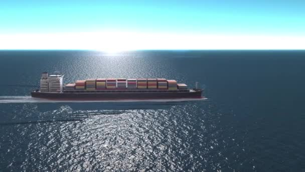 Teherhajó konténerekkel az Ocean- Aerial view, Freight Shipping export és import koncepció, konténerszállító hajó szállít rakományt az óceánon keresztül. Szállítás. Küldemény. Logisztika.
