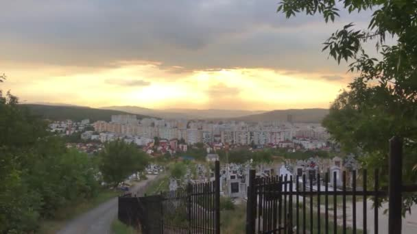 Romania city Cluj napoca town with old cemetery at sunset, Cluj napoca at sunset,2020