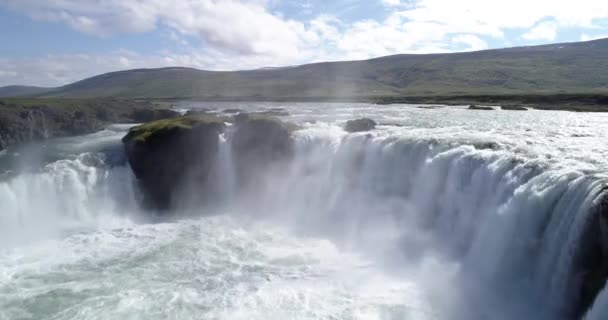 Aerial view over Godafoss waterfall, IcelandGodafoss is a waterfall in northern Iceland, Drone view , February 2021
